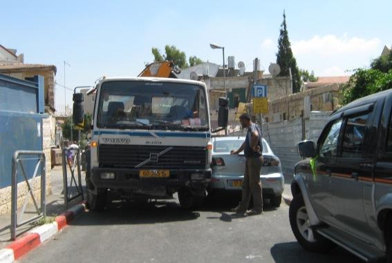 truck on sidewalk