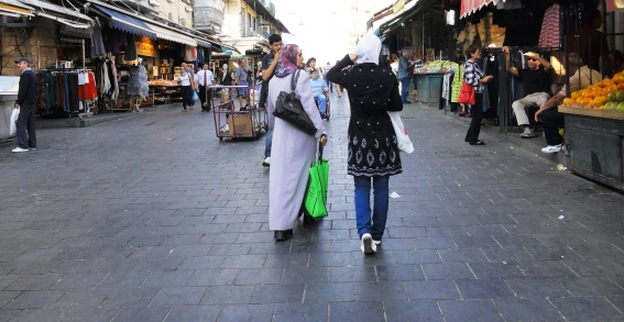Palestinian woman, shopping in Machane yehuda