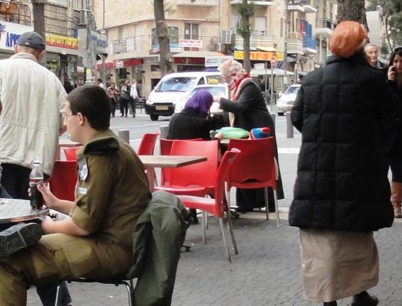 Muslim women eating in Jerusalem