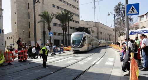 """""""light rail train"""" """"Jaffa Street"""""""