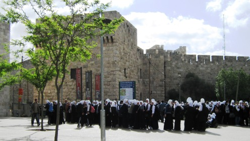 Arab girls in uniforms in Old City