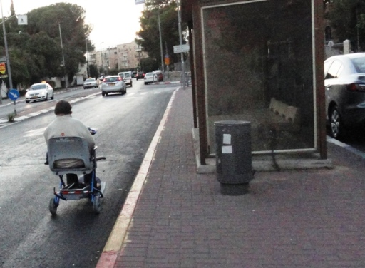 """picture riding in street"", ""photo handicapped"", ""image disabled in street"""