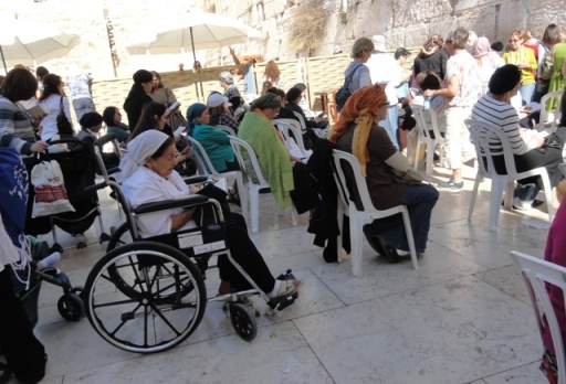 """Wheel chair at Wailing Wall"", ""picture Wailing Wall"", ""photo wheel chair"""