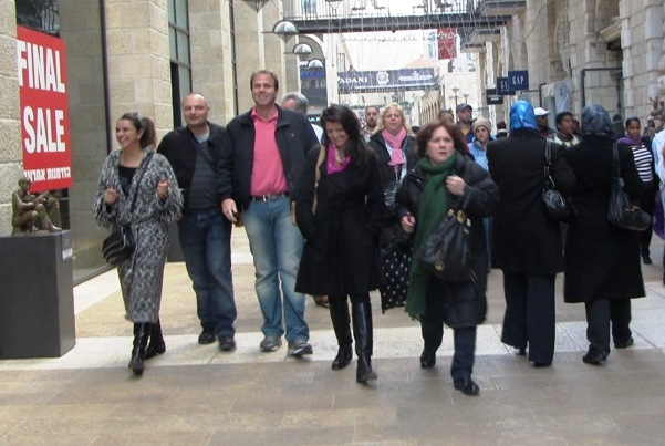 """Mamilla Mall shoppers""  ""BDS"" image , ""apartheid image"""
