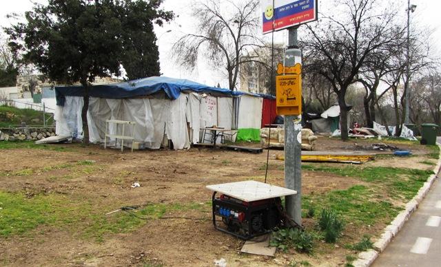 Gan Sacher tent city image