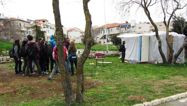 tent city school trip image, Gan Sacher tent image