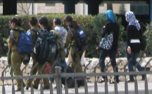 """Israeli soldier""  ""Arab girls"" apartheid"