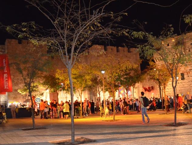 Jaffa Gate at night