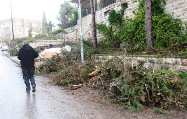 rainy street photo Jerusalem