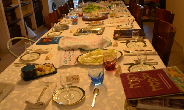 Table set for holiday Passover