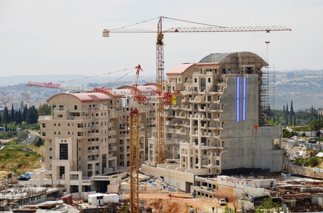 Israeli flag, building site photo