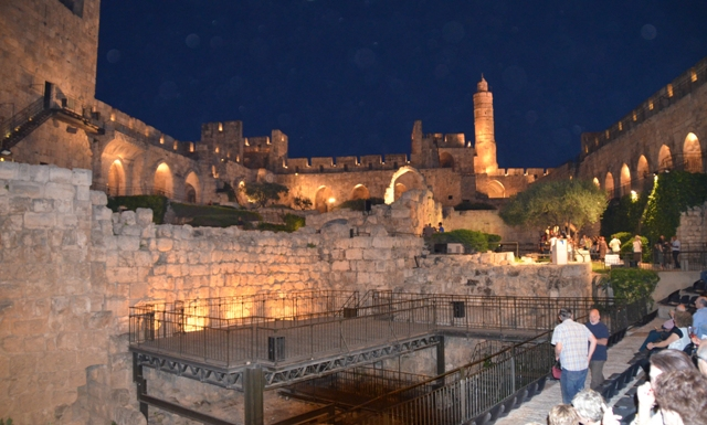Tower of David photo at night