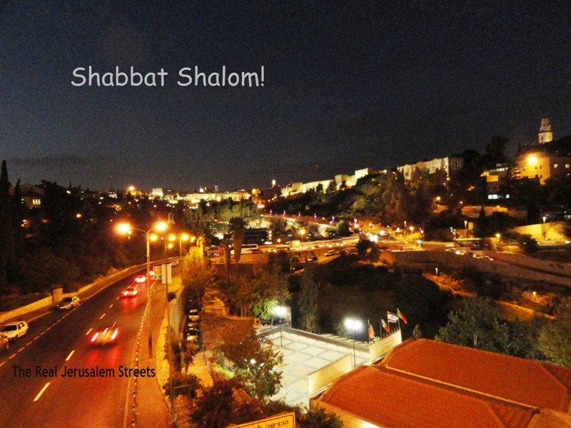 Shabbat shalom image, photo Old City view at night