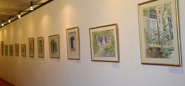 watercolor display  on wall of Jerusalem Theater, image gallery watercolour art