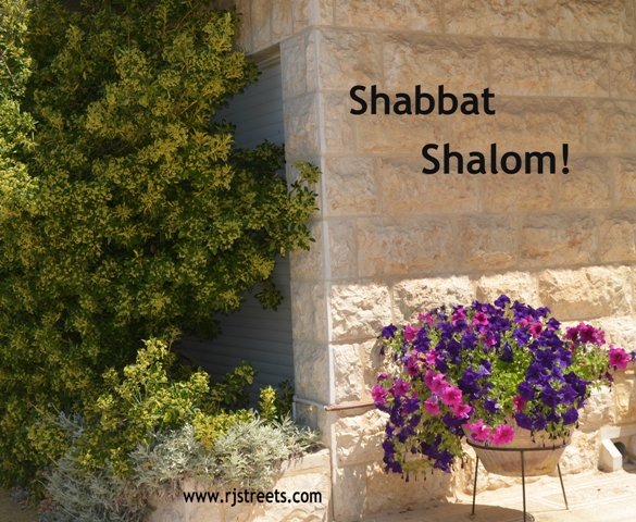 image for shabbat shalom, photo with Jerusalem stone and flowers, J Street