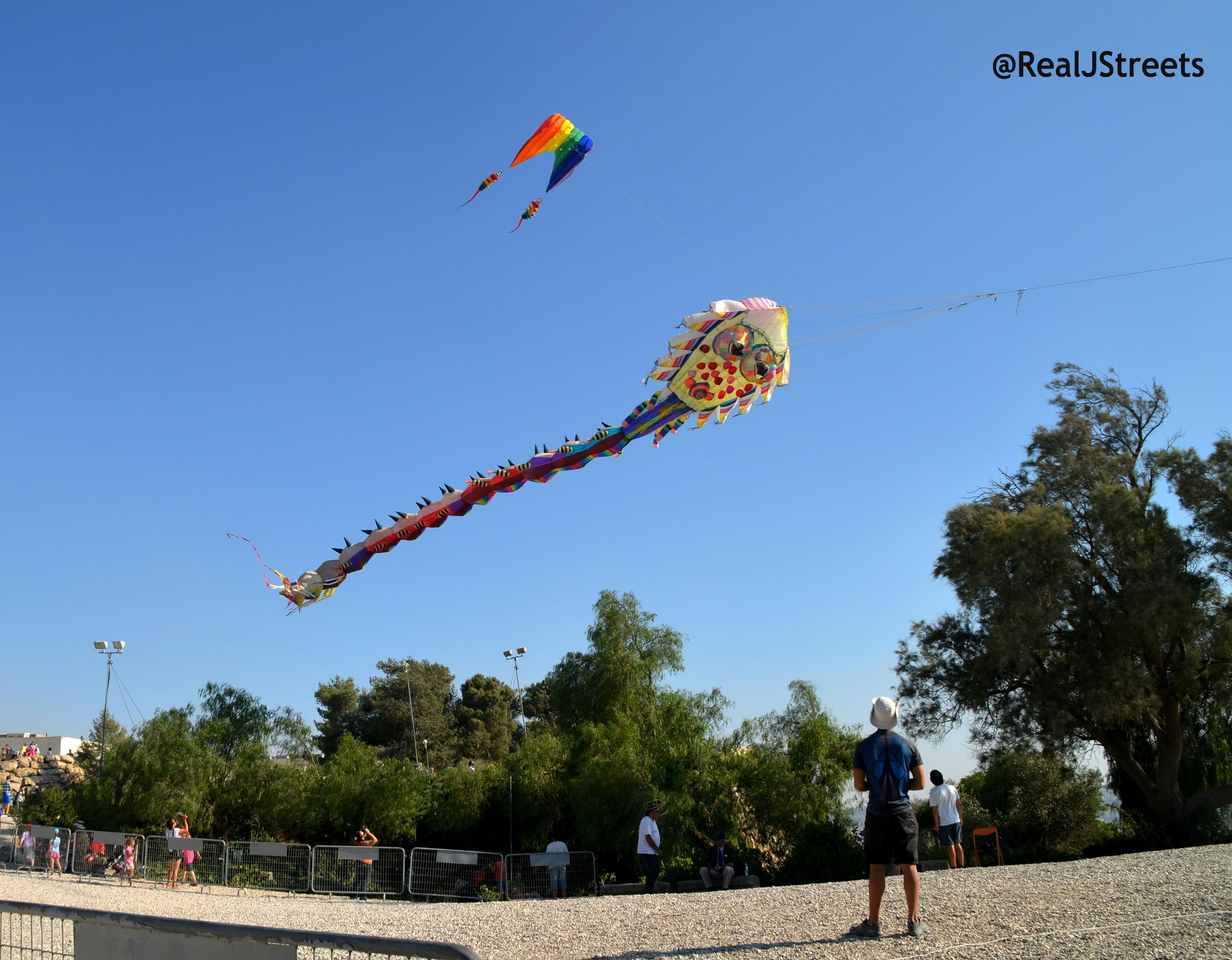 Kites flying . Kite Festival jerusalem, Israel Museum