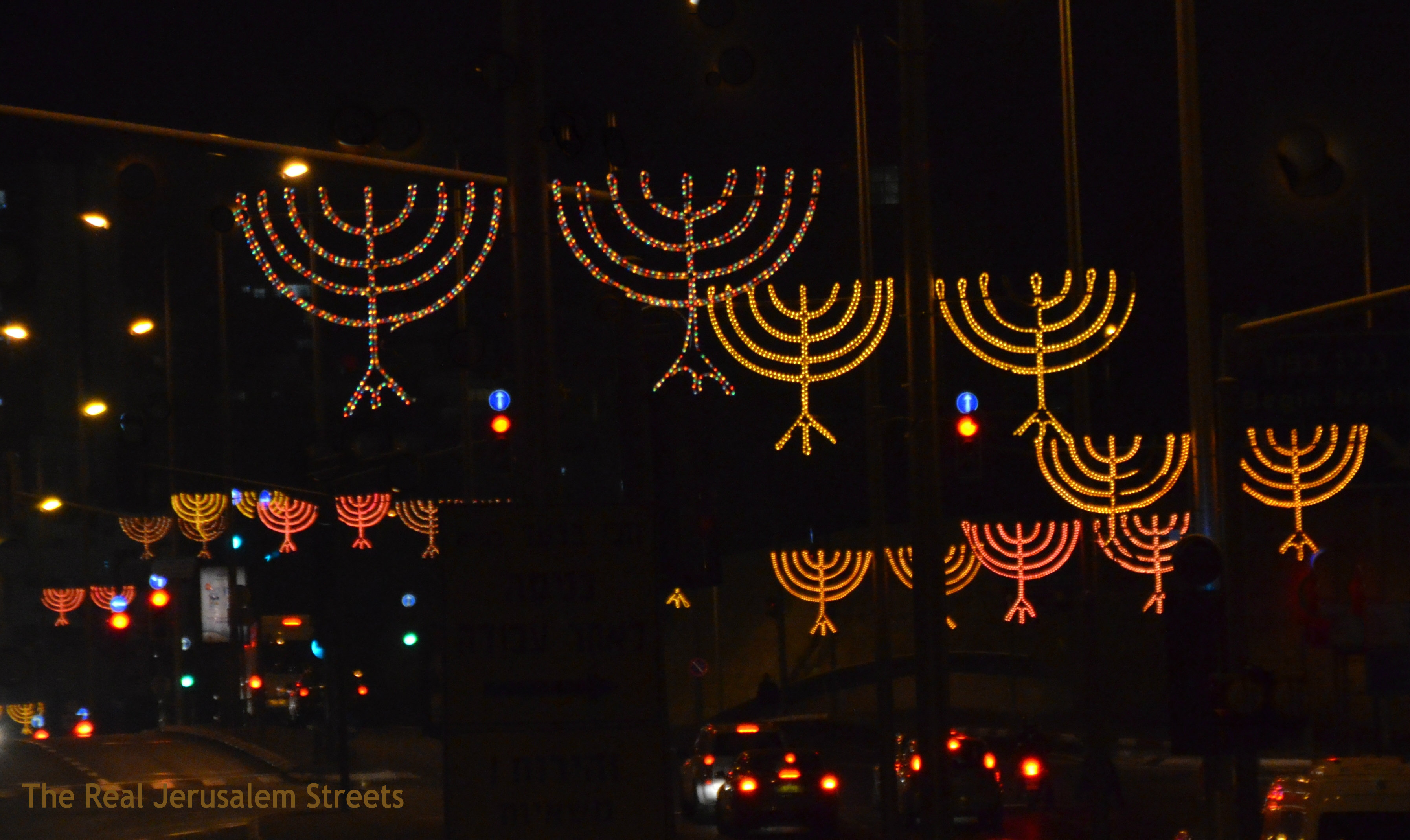 image street decorations, photo streets on Hanukkah, Jerusalem photo streets decorations