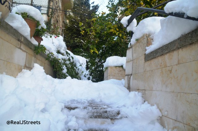 image Jerusalem snow, picture Jerusalem in snow, steps snow photo jerusalem