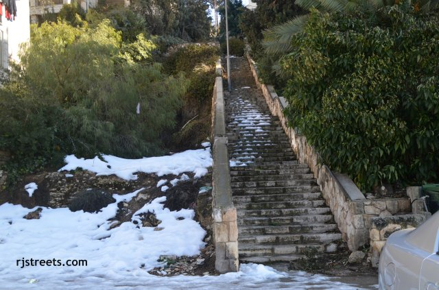 snow in Israel photo, image Jerusalem steps, picture snow in Israel