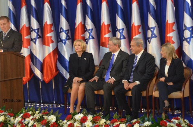 image Harper and Netanyahhus, photo Steven Harper, picture Sara and Bibi Netanyahu