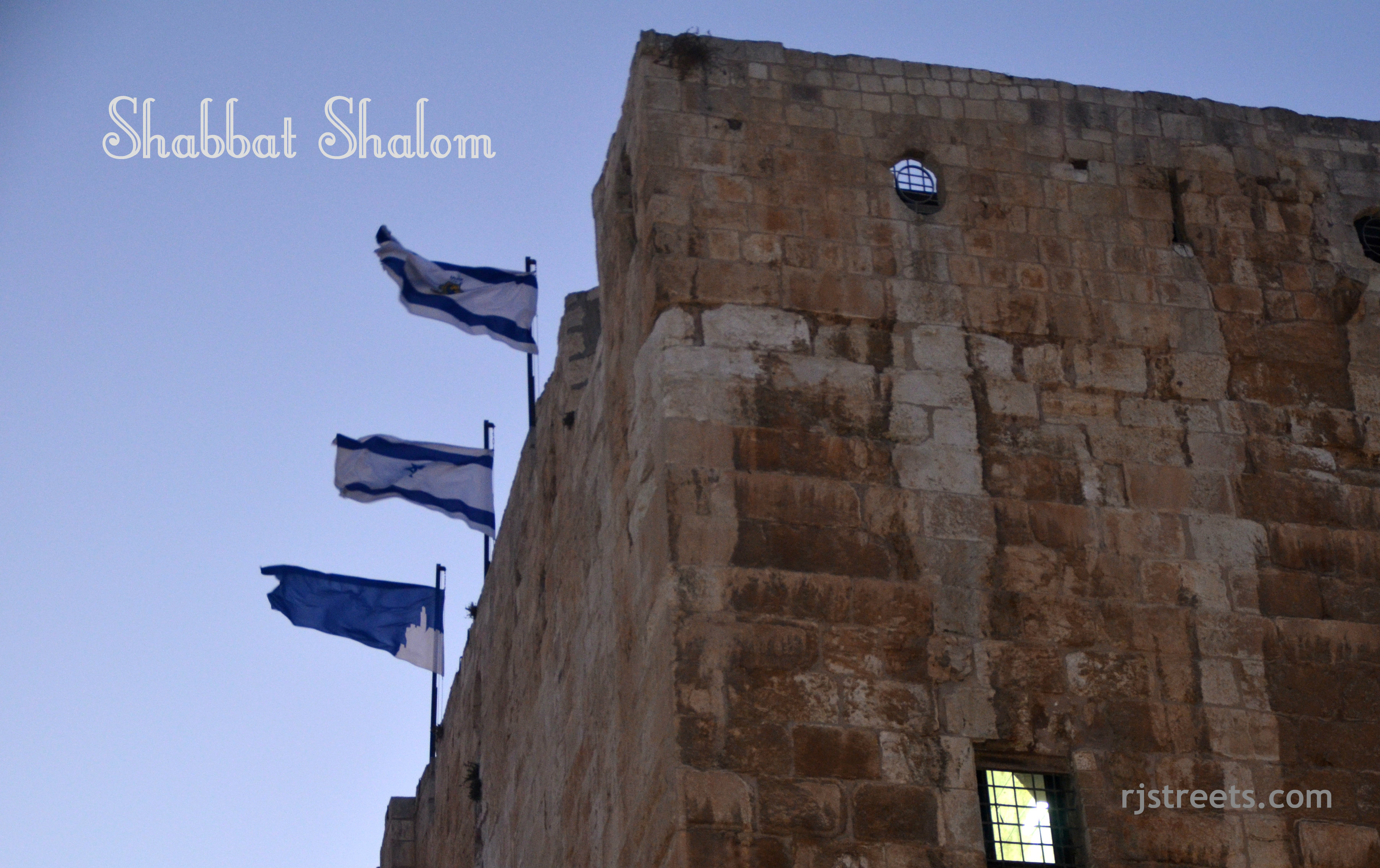 image Shabat shalom, photo tower of Daivd, picture flags blowing