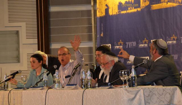 image panel at Jerusalem Conference, picture Rabbi, photo Israeli politicians