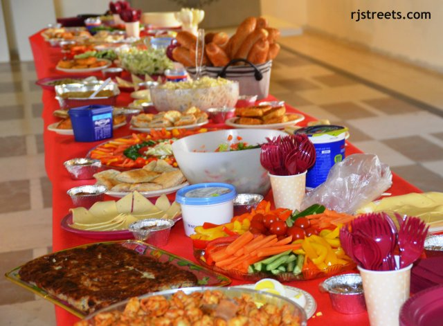image table with food, photo food for party, picture decorated table