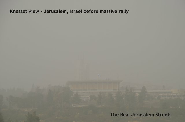 image protest day in Jerusalem, picture sandstorm, photo sandstom