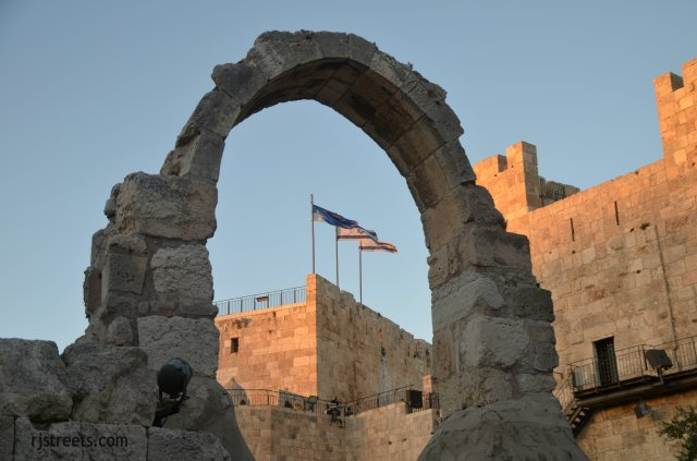 image Israel flag, view Tower of David
