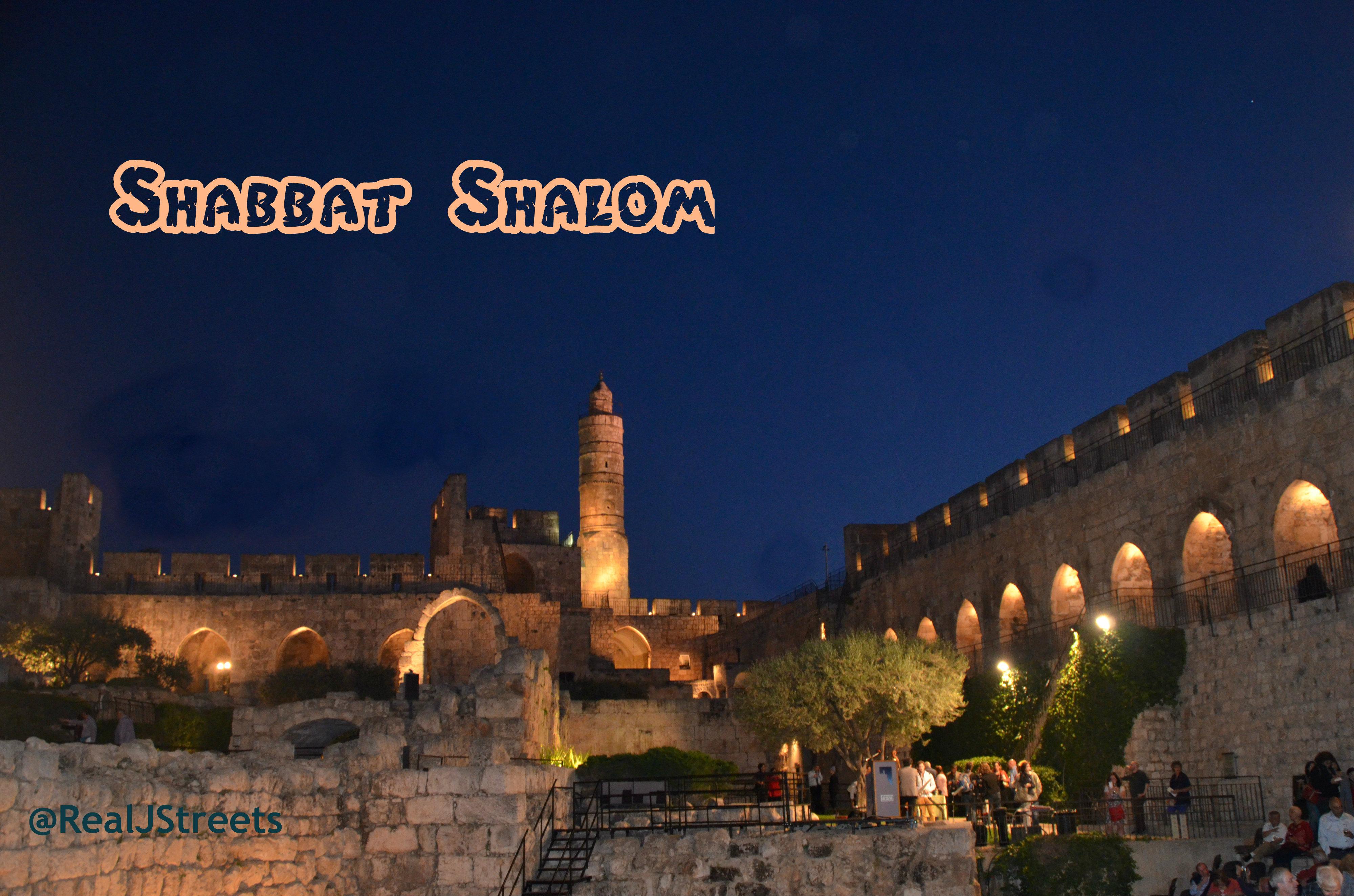 image Shabbat shalom, Photo Tower of David, picture Jerusalem at night