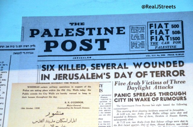 image Palestine Post, photo 1938 headline