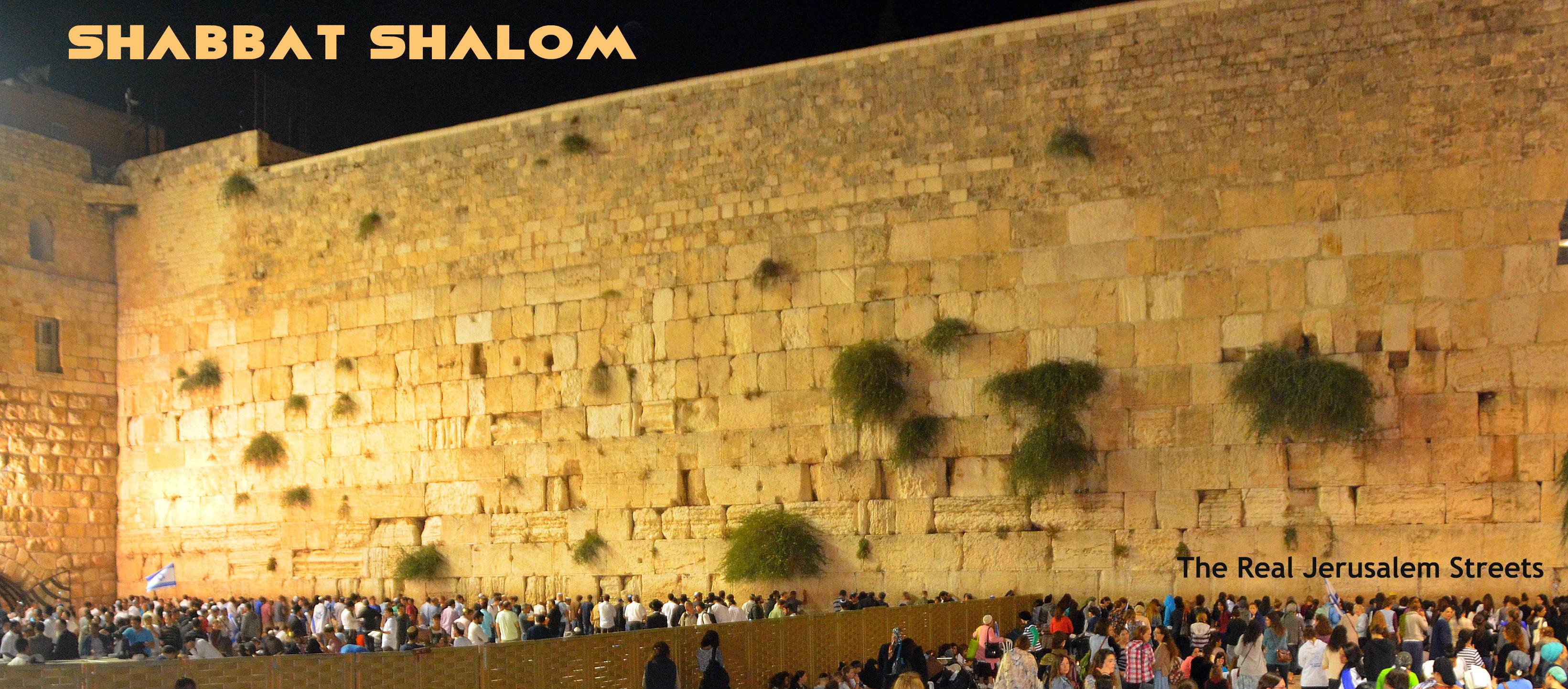 Shabbat shalom poster, western wall, kossel, kotel
