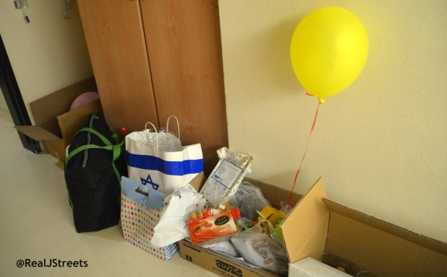 gifts outside room of injured Israeli soldier