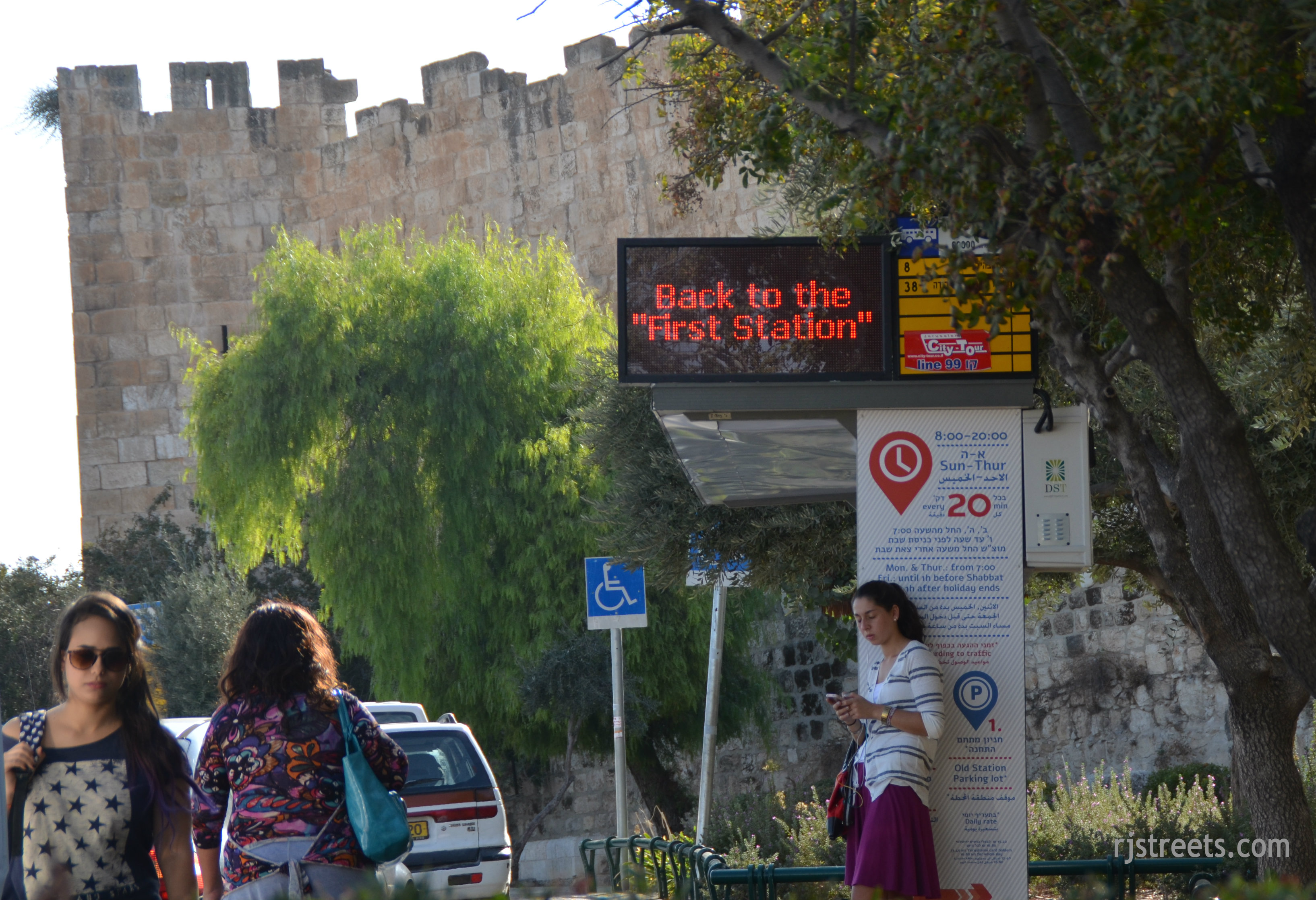image bus stop for free shuttle Jerusalem near Dung Gate