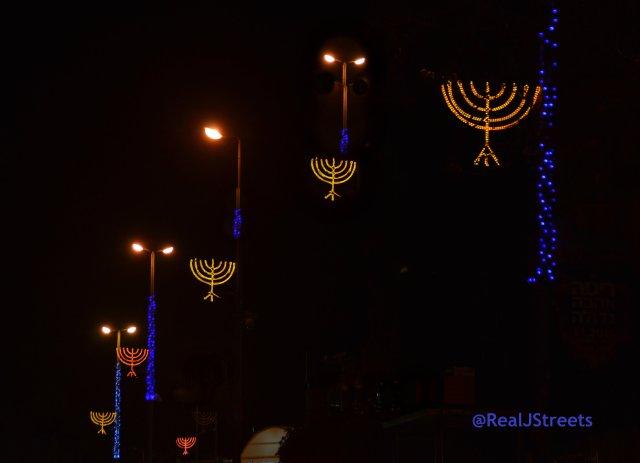 image lights for Hanukkah on street outside the president house Jerusalem