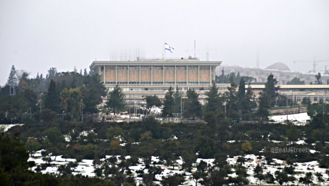 image snow on ground outside Knesset