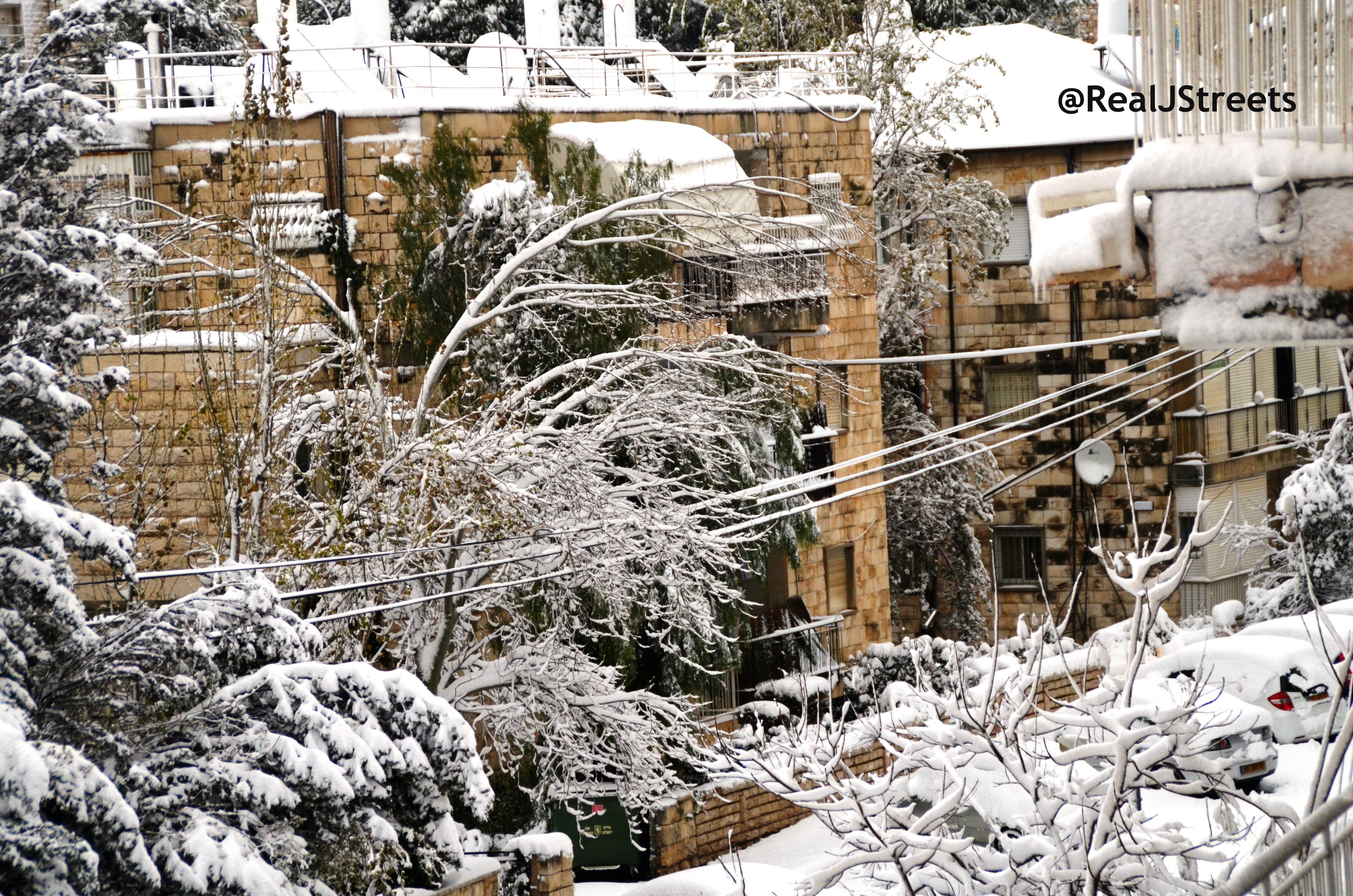 street scene Jerusalem under snow