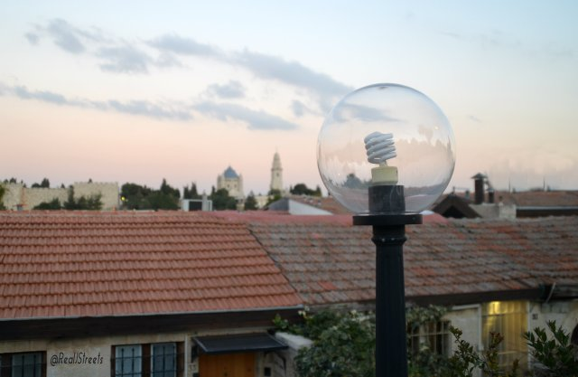 new light bulb in old neighborhood of Yemin Moshe