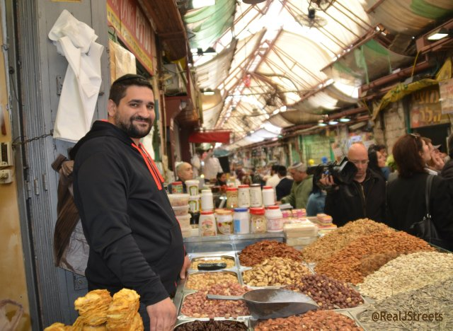 picture nut selling stall in shuk
