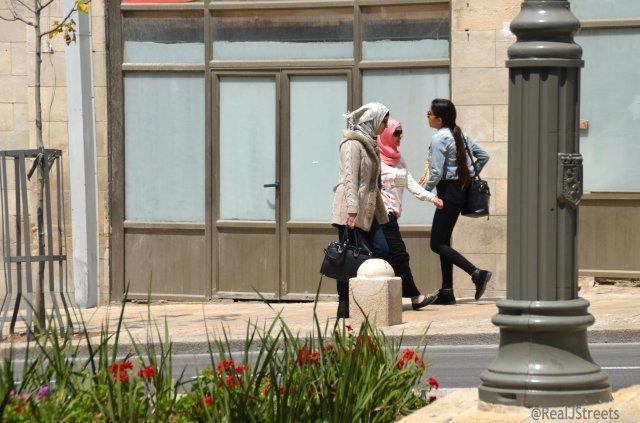 two Muslim Girls walking in Jerusalem