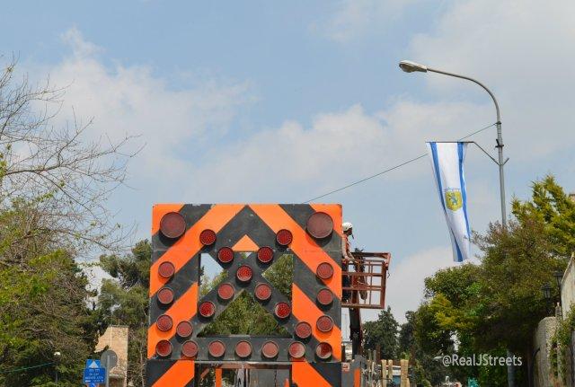 Flags over Jerusalem Israel streets