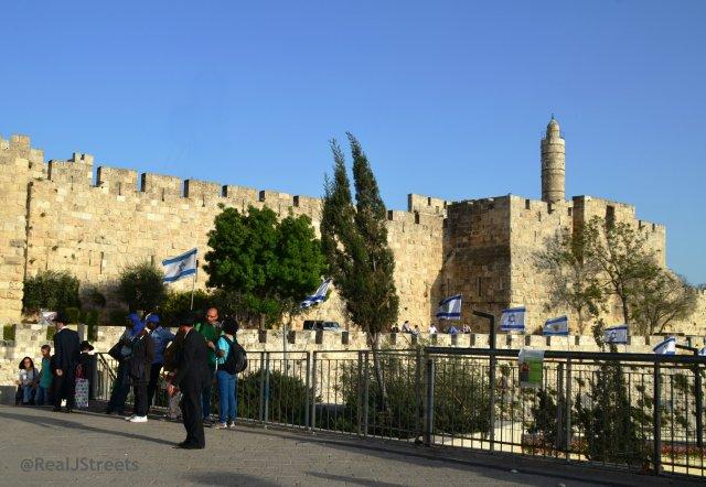 Jaffa Gate plaza view of Tower of DAvid