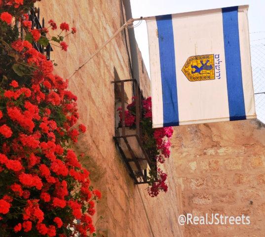 Flag fro Jerusalem hanging on Jerusalem Day