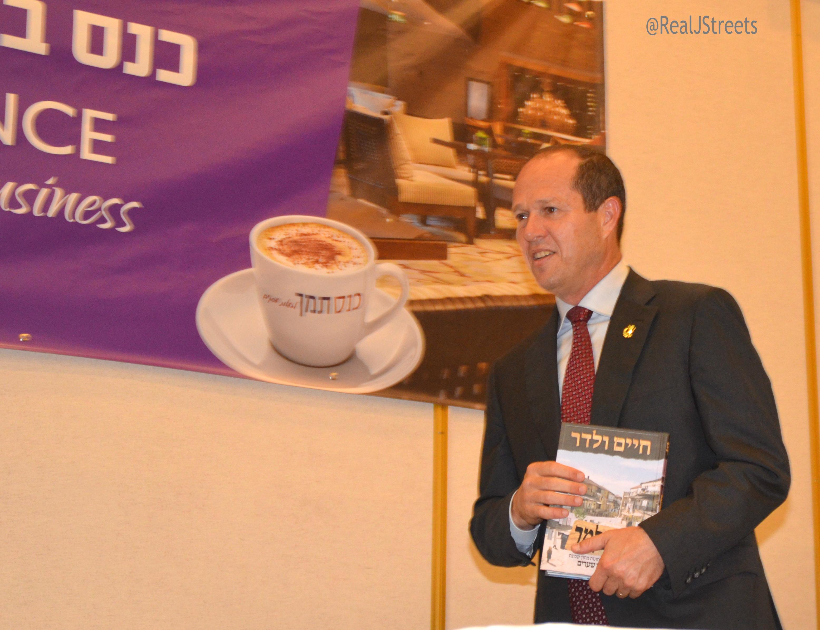 Nir Barkat with book by Haim WAdler