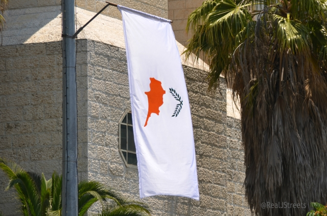 President of Cyprus flag up in Jerusalem