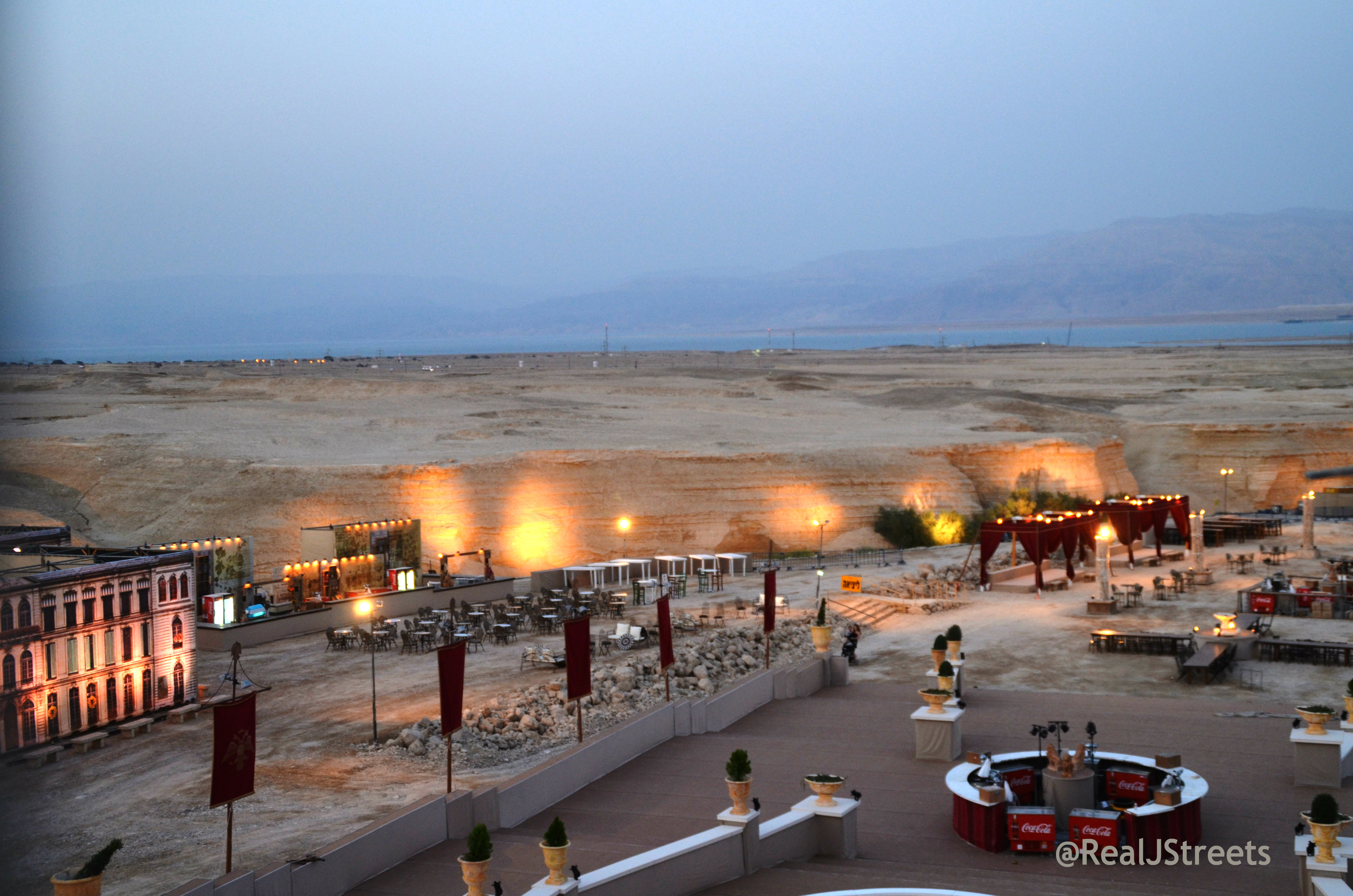 view of food and Dead Sea at opera at Masada