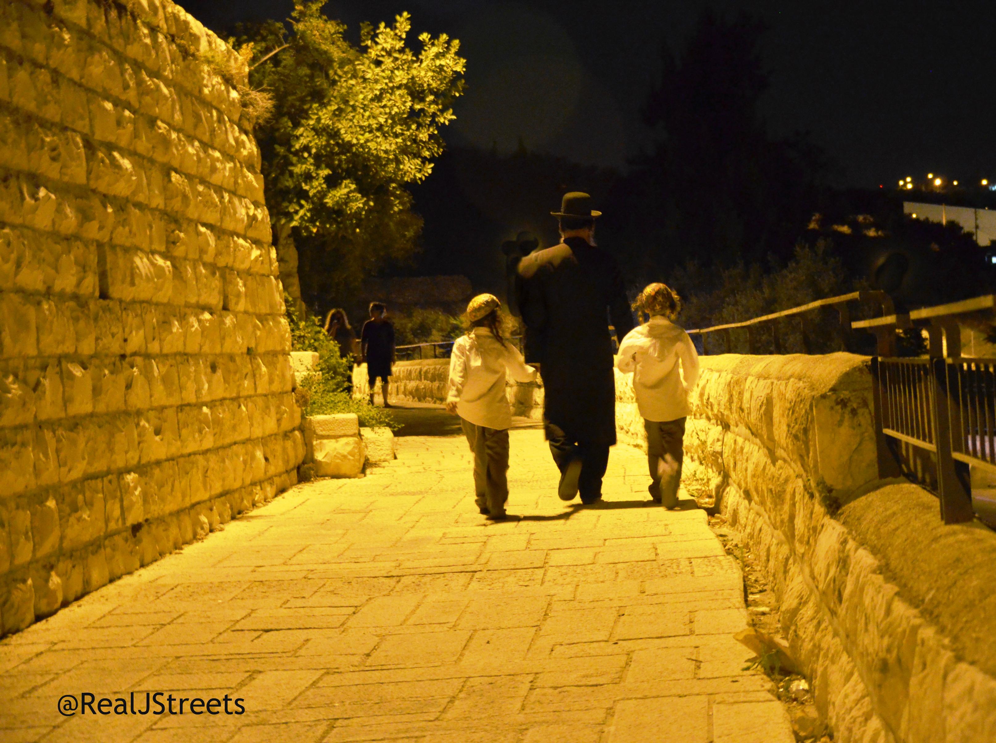 Jerusalem Israel walking at night