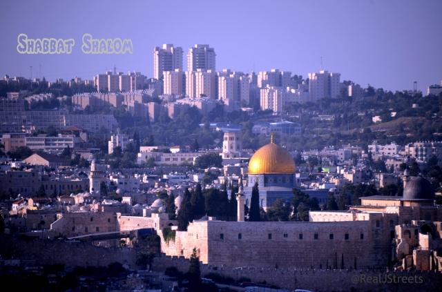 Shabbat shalom sign using Temple Mount photo