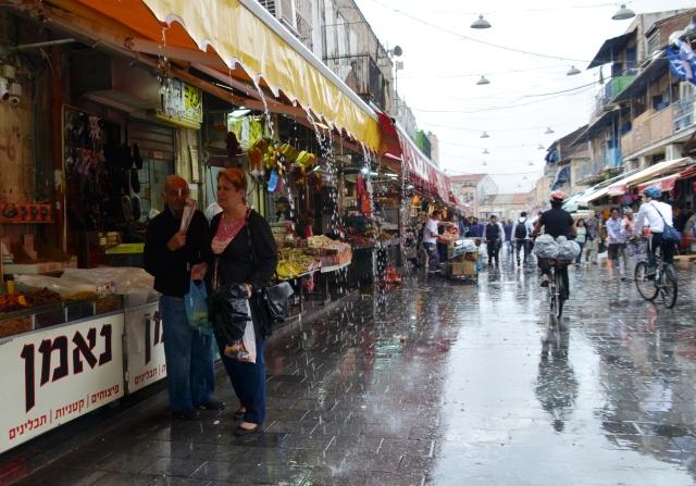 Machane Yehuda market rain