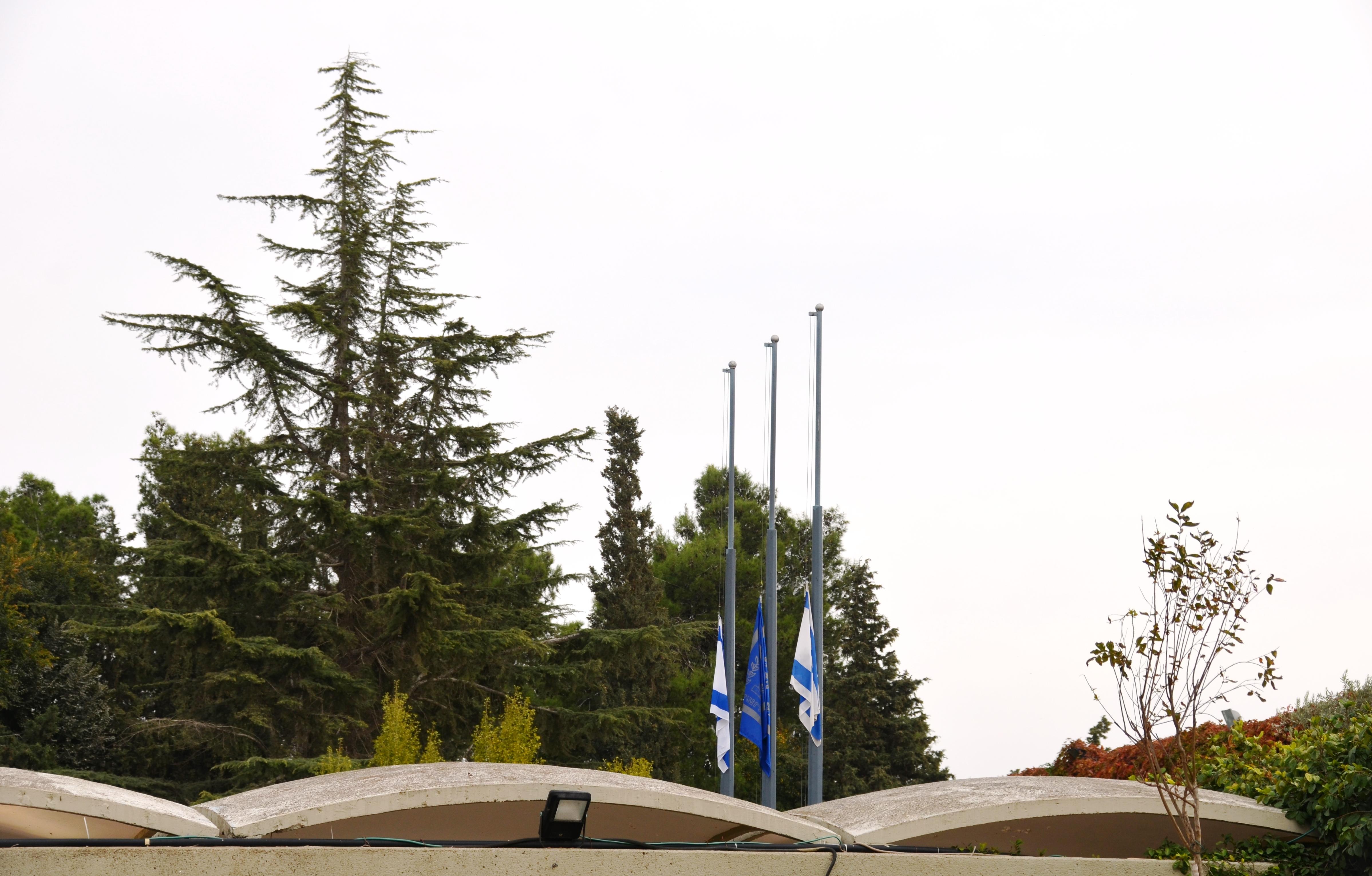half mast Israeli flags